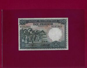 Belgian Congo 10 Francs 1948 P-14 VF++ BELGIUM  ZAIRE
