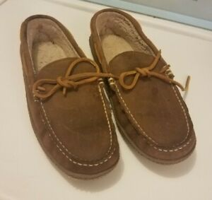 LL Bean Leather Moccasin Lined Loafer Slipper Shoes Brown Men's 10 M