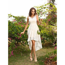 Simple Ivory Lace Short High-Low Beach Wedding Dresses V Neck Bridal Gowns 2019