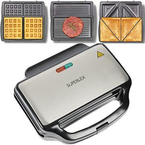 900 W Deep Fill 3-in-1 Sandwich Toaster Waffle Maker Grill Toastie Panini Press