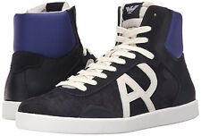 Armani Jeans Mens Classic AJ Logo High Top Sneakers Navy US 8 EU 41 NEW IN BOX