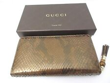 New Gucci Women's 307984 Cardamom Python Snakeskin Bamboo Zip Around Wallet