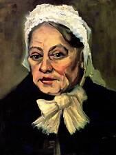 Gogh head, une vieille femme avec capuchon blanc sage-femme old art print 12x16 pouces 2828OM