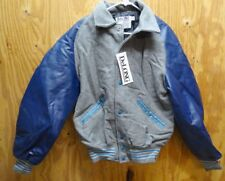 DELONG VARSITY / LETTERMAN'S JACKET NAVY / GREY & LIGHT BLUE MADE IN USA LARGE