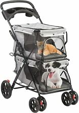 Double Pet Stroller for Pets Folding Portable Jogging Travel Carrier Cage, Gray