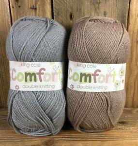 King Cole Comfort DK Knitting Yarn Mineral Truffle 2 x 100g Balls