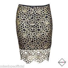 Nueva Falda Cintura Alta hueco de oro negro para damas Bodycon de Fiesta Talla 10