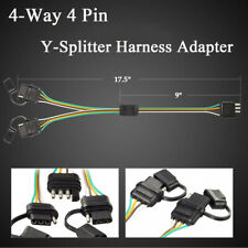 Flat 4-Way 4 Pin Trailer Truck Y-Splitter Harness Adapter LED Tailgate Light Bar