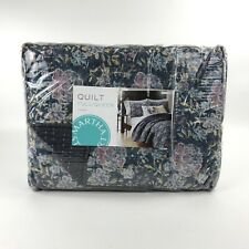 Martha Stewart Collection Quilt Iridescent Peony Stone Wash Full /  Queen Blue