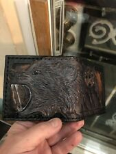 Custom handmade hand stitched hand tooled leather bifold wallet