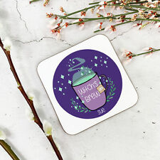 Personalised Witches Cauldron Wooden Drinks Coaster Mat Birthday Gift Present