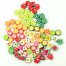 100 pcs Mixed Color Fruit Shape Polymer Clay Charm Loose Fruits Spacer Beads