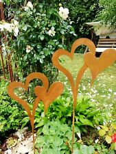 Set Herzen zum stecken, 2 Stecker Rost Optik Landhaus Gartendeko Beetstecker