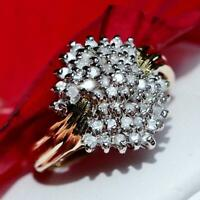 14k yellow gold ring 1.25ct natural diamond sz 5.5 vintage handmade 4.7gr Gab200