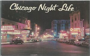 VINTAGE CHICAGO POST CARD - NIGHT LIFE - RUSH STREET AT NIGHT - BLANK/UNPOSTED!