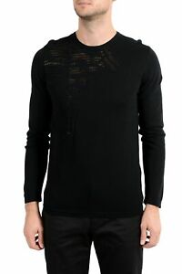 Versace Collection Men's Black Medusa Designed Crewneck Light Sweater