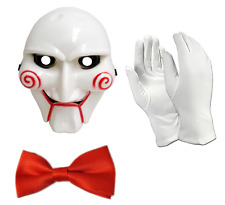 3 PEICE FANCY DRESS COSTUME SET HALLOWEEN SAW PARTY BILLY THE PUPPET MASK GLOVES
