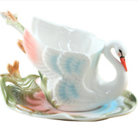 Hand Crafted Collection Porcelain Coffee Mugs Tea Cup Sets with Saucer and Spoon