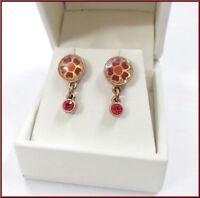 NEW PILGRIM JEWELRY RED SWAROVSKI CRYSTALS ENAMEL FLOWERS GOLD PLATED EARRINGS