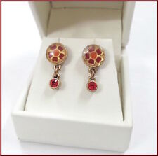 Pilgrim 16k Gold Plated Earrings Red Swarovski Crystals Enamel Flowers RARE
