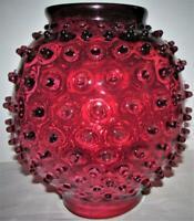 "Antique Spiky Hobnail Cranberry Glass GWTW Oil or Kerosene Lamp Shade 8 3/4"""