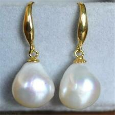 12-10mm White Baroque Pearl Earrings 14K gold hooks Beads Fashion Jewelry party
