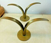 "2 Vintage Brass Art Deco Flared Sides Candle Holder 4 3/4"" Tall 9"" Across"