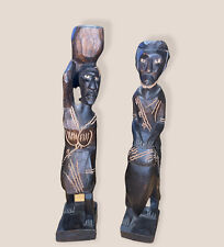 Vintage Hand Carved African Tribal Figures Man And Woman With Basket