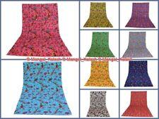 Cotton Bedspread Kantha Bedding Blanket Reversible Indian Deco Bird Hand Quilt