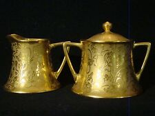 Stouffer China All Gold Poppy & Forget Me Not Creamer & Sugar Bowl 20th c