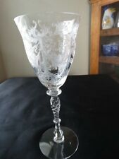 "Tiffin Clear Etched Glass Byzantine 8 1/2"" Water Goblet 15037 Excel Condition"