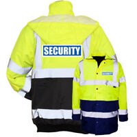 Yellow Navy Reflective Security Hi Vis Parka Jacket Printed Work Coat High Viz
