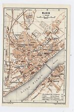 1919 ORIGINAL ANTIQUE CITY MAP OF BLOIS / LOIRE / FRANCE