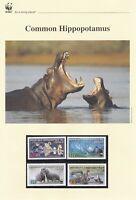 WWF025) WWF Panda, set of 4 FDC and set of 4 mint stamps, Hippopotamus, Congo