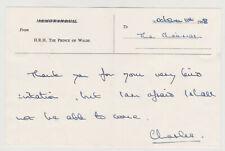 Prince Charles Signed Letter, 1968