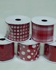 10 Rolls of Wired Ribbon Red & White