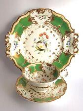 Grainger (Worcester) Tea Trio, handpainted flowers patt 250 c.1830