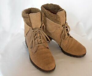 LUCKY BRAND Huntress Size 9 Tan Suede Fold-Collar Knit Cuff Lace-Up Combat Boots