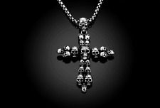 Mens Stainless Steel Gothic Skull Heads Pendant Box Link Chain Necklace +Box N94