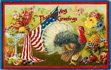 1910 Patriotic US Flag Thanksgiving Greetings Postcard