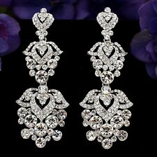 Rhodium Plated Clear Crystal Rhinestone Flowers Bridal Drop Chandelier Earrings