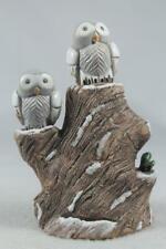 Rinconada Classic Prototype Old 2 Snow Owls On Stump Rare -In Box