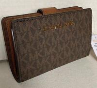 New Michael Kors Jet Set Travel Bifold Zip Coin wallet Signature PVC Brown