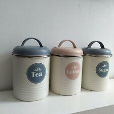 Rétro Vintage Cuivre Thé Café Sucre Stockage Pots Boîtes Set Hermétique Couvercle
