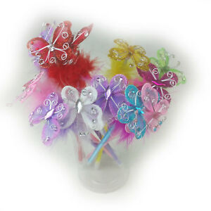 12 PCS Butterfly with Feather Ballpoint Pen Assorted Colors