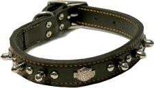 """Harley Davidson Leather Spike Pet Dog Collar Contoured Bar & Shield Logo 1"""" x18"""""""
