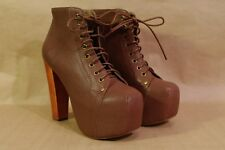 Jeffrey Campbell Brown Leather Lita Platform Ankle Boots New US 7.5