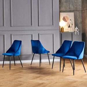 Set of 4 Blue Velvet Dining Chairs Kitchen Dinning Room Metal Leg Padded Modern