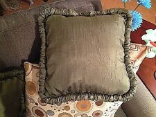 """NEW CROSCILL PARFAIT, SAGE GREEN, RUCHED EDGE THROW PILLOW 18"""" x 18"""""""