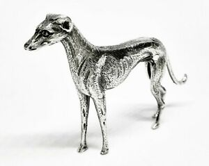 English Made Hallmarked Sterling Silver Greyhound Dog Figure